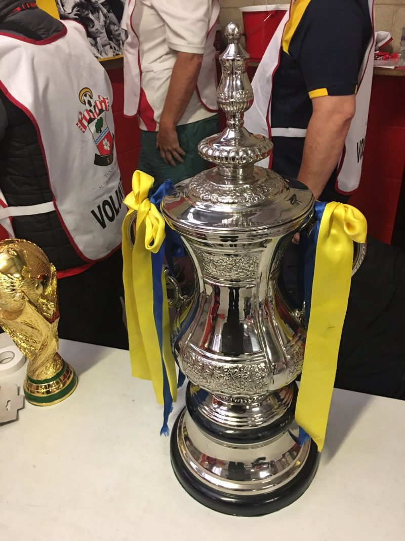 A replica of the FA Cup and World Cup was on show for fans to have their photos taken