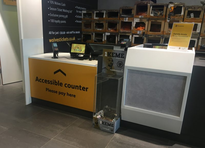 Wolves' accessible counter in the club megastore