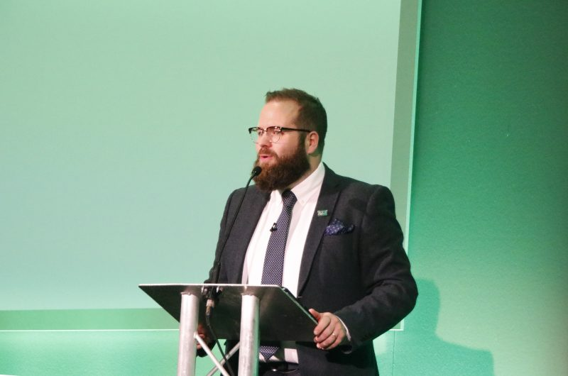 Level Playing Field CEO Owain Davies, speaks at the National Forum.