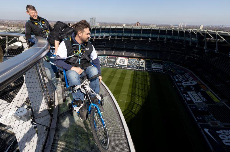 Kris enjoying the views from the roof of Tottenham Hotspur Stadium.