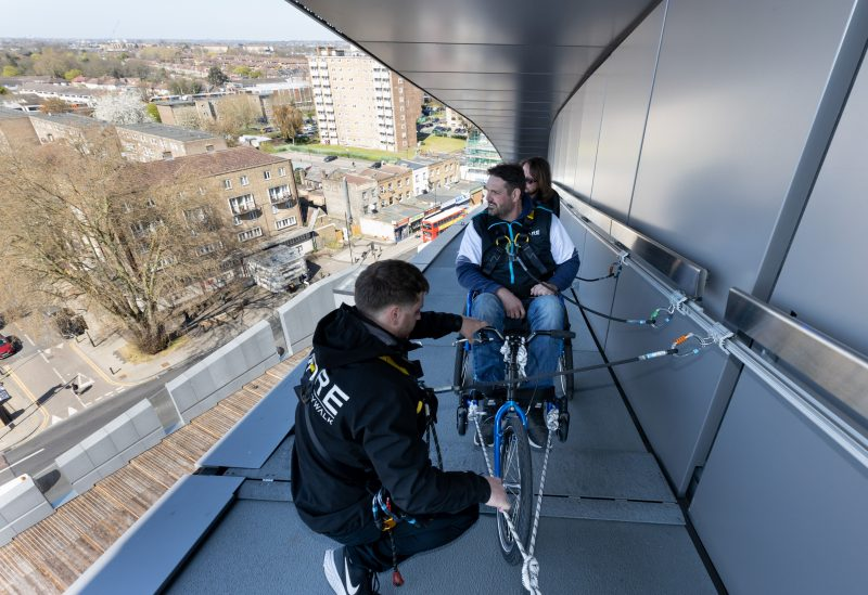 Wheelchair users will use a padded wheelchair on the Dare Skywalk experience.